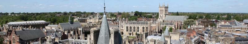 Aerial view of Cambridge's historical buildings, England